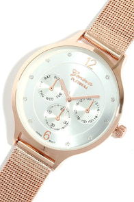 Mesh-ure of Time Rose Gold and Silver Watch