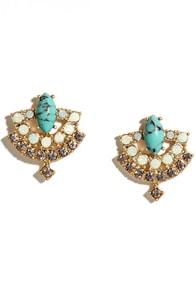 My Sharona Gold and Turquoise Rhinestone Earrings