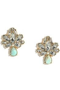 Lovely Lotus Gold and Turquoise Rhinestone Earrings