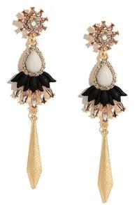 Fancy Frosting Gold and Grey Rhinestone Earrings