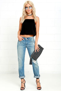 Blank NYC Tomboy Medium Wash Distressed Boyfriend Jeans