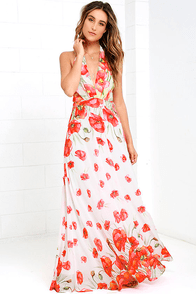 image Poppy Song Ivory Floral Print Halter Maxi Dress