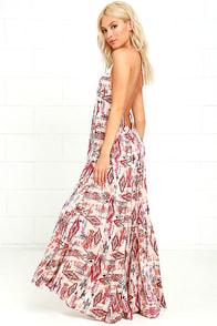 image Billabong Shine On Beige Print Maxi Dress