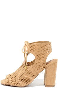Traveling Show Toffee Suede Perforated Booties
