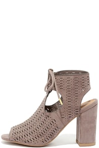 image Traveling Show Taupe Suede Perforated Booties