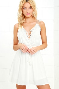 image Social Butterfly White Backless Lace Dress