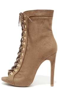 image Gemini Taupe Suede Lace-Up High Heel Booties