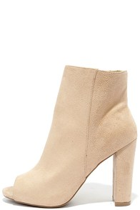 image Modest Goddess Natural Suede Peep-Toe Booties