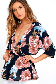 See You Again Navy Blue Floral Print Top