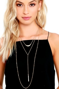 Cupid's Bow Gold Layered Drop Necklace