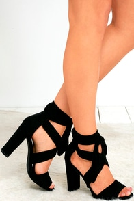 image Beat of My Heart Black Suede Lace-Up Heels