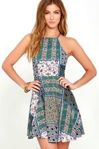 Sunflower Days Green Print Skater Dress