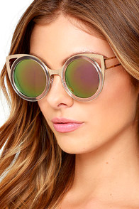 image Future Insight Clear and Pink Mirrored Sunglasses