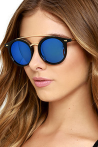 How Soon is Now Black and Blue Mirrored Sunglasses