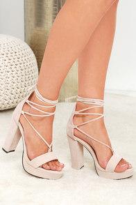 I Slay Nude Suede Lace-Up Platform Heels