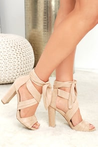 Beat of My Heart Natural Suede Lace-Up Heels