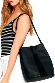 Travel Time Black Tassel Handbag