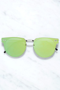 Spitfire Cyber Silver and Green Sunglasses