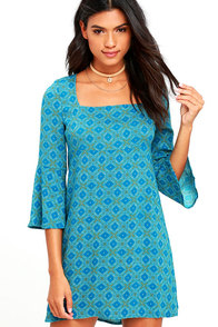 Jack by BB Dakota Atticus Teal Blue Print Shift Dress
