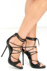 image Party Anthem Black Patent Snakeskin Lace-Up Heels