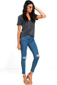 Lean With It Medium Wash Distressed Ankle Skinny Jeans