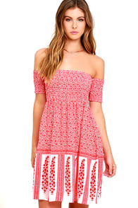 Glamorous Positive Aura Coral Red Print Off-the-Shoulder Dress