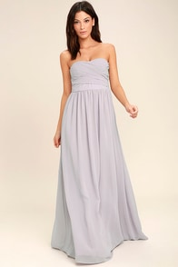 All Afloat Light Grey Strapless Maxi Dress