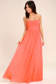 All Afloat Coral Pink Strapless Maxi Dress