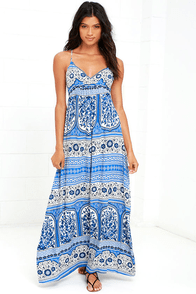 Secret Cities Blue Print Maxi Dress