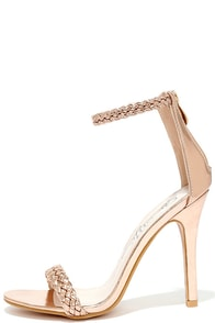 image Braid for Each Other Rose Gold Ankle Strap Heels