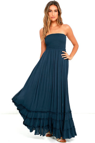 Dance Floor Darling Strapless Navy Blue Maxi Dress
