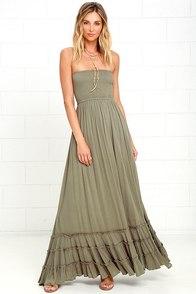 Dance Floor Darling Strapless Olive Green Maxi Dress