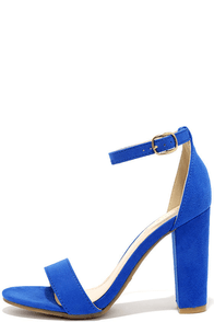 image Something Sweet Sapphire Blue Suede Ankle Strap Heels