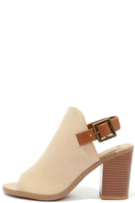 image Help Yourself Taupe Suede Peep Toe Booties