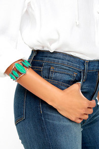 image Wind Warrior Silver and Turquoise Cuff Bracelet