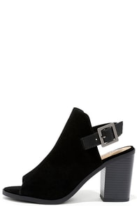 image Help Yourself Black Suede Peep Toe Booties