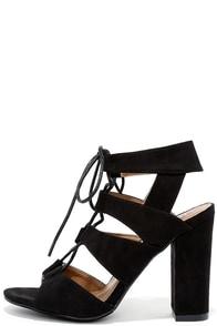 image Pasatiempo Black Suede Caged Lace-Up Heels