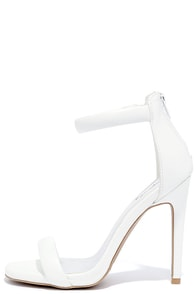 Pop Sensation White Ankle Strap Heels