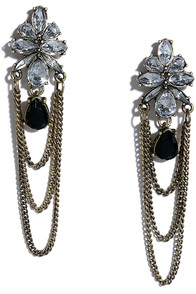 image Happy Dance Gold and Black Rhinestone Earrings