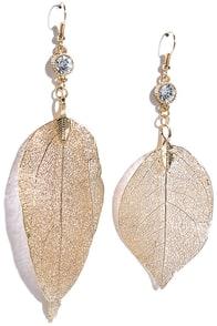 image Quick to Fall Gold Rhinestone Leaf Earrings