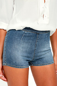 Amuse Society Vice Medium Wash High-Waisted Denim Shorts