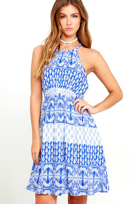 Hide Away Blue and White Print Halter Dress