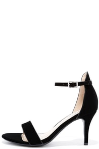 Published Author Black Nubuck Ankle Strap Heels