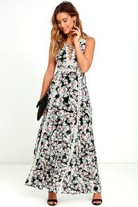 Sun Will Shine Black Floral Print Maxi Dress