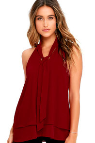 Handle My Business Wine Red Sleeveless Top