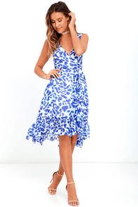 Oh, So Close Blue Print High-Low Wrap Dress
