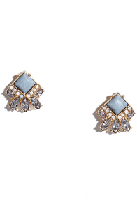 Twinkling Lights Light Blue Rhinestone Earrings