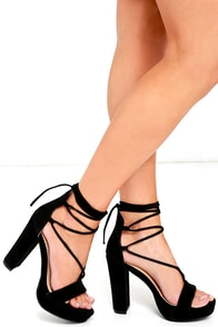 I Slay Black Suede Lace-Up Platform Heels