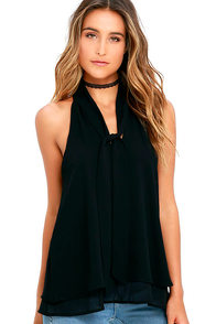 Handle My Business Black Sleeveless Top
