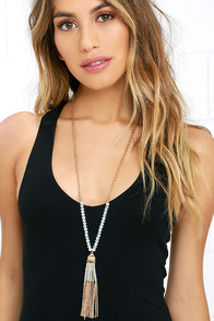 Begin and Trend Gold and Iridescent Beaded Tassel Necklace
